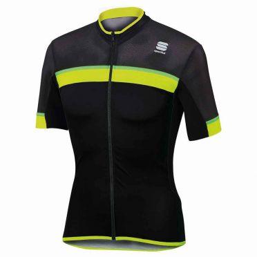 Sportful SF pista fietsshirt korte mouw zwart/geel/groen heren