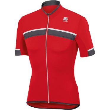 Sportful SF pista fietsshirt korte mouw rood/wit heren