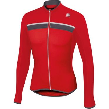 Sportful Pista Fietsshirt Long Sleeve rood/wit heren