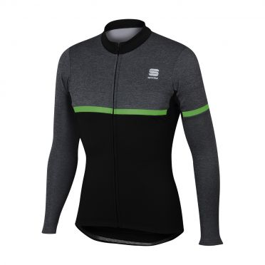 Sportful Giara warm lange mouw fietsshirt zwart/groen heren