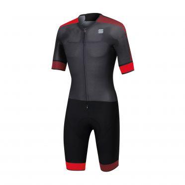 Sportful Bodyfit pro speedsuit korte mouw zwart/rood heren