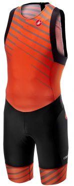Castelli Free tri ITU suit rits achterzijde mouwloos oranje heren