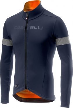 Castelli Nelmezzo ros lange mouw fietsshirt blauw/oranje heren