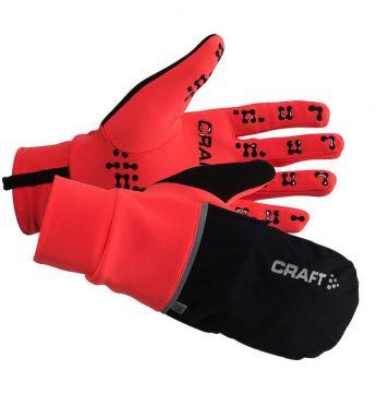 Craft Hybrid weather hardloophandschoen rood