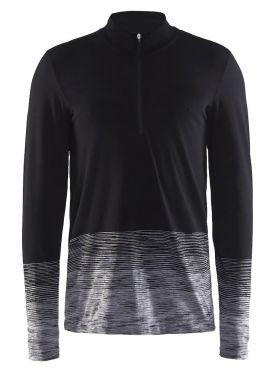 Craft wool comfort 2.0 CN zip lange mouw ondershirt zwart heren