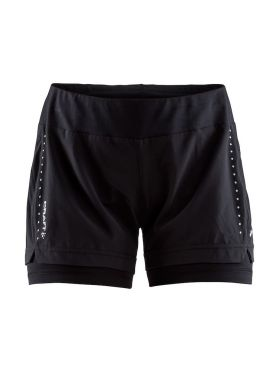 Craft Essential 2-in-1 hardloop short zwart dames