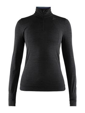 Craft Fuseknit comfort zip lange mouw ondershirt zwart dames