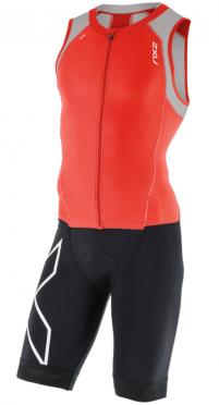 2XU Compression trisuit full zip zwart/rood/grijs heren