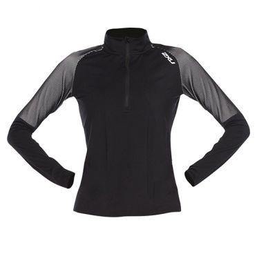 2XU GHST 1/2 Zip hardloopshirt lange mouw zwart/wit dames