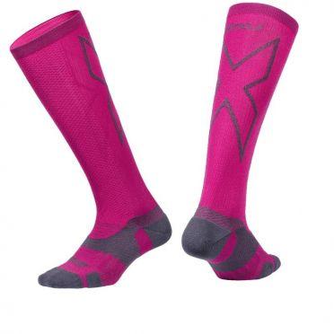 2XU Vectr merino LC Full Lenght compressie hoge sokken roze