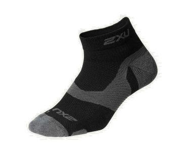 2XU Vectr merino LC 1/4 crew compressie sokken zwart