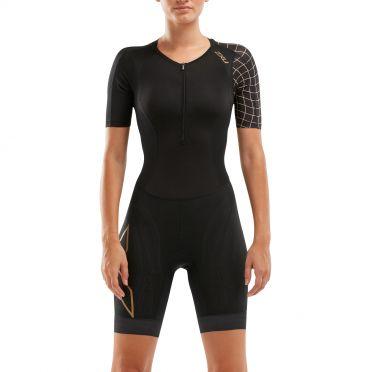 2XU Compression korte mouw trisuit zwart/goud dames