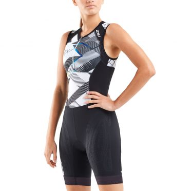 2XU Compression mouwloos trisuit zwart/wit dames