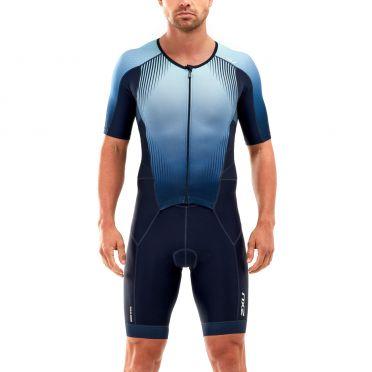 2XU Perform korte mouw trisuit blauw heren
