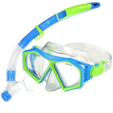 Aqua Lung Sport Molokai + Spout Kids Snorkelset blauw/groen
