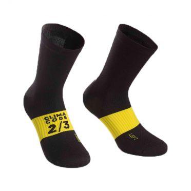 Assos spring/fall fietssokken zwart/geel unisex