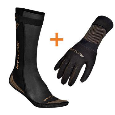 BTTLNS Neopreen zwemsokken en zwemhandschoenen voordeelset zwart/goud