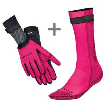 BTTLNS Neopreen zwemsokken en zwemhandschoenen voordeelset roze