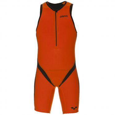 Arena Carbon pro front zip mouwloos trisuit oranje heren