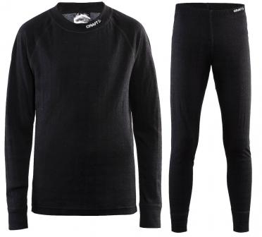 Craft junior nordic wool onderkleding voordeel set zwart kind/junior