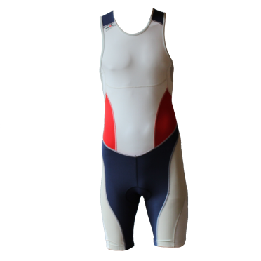 Ironman trisuit back zip mouwloos extreme suit wit/blauw/rood heren