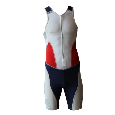 Ironman trisuit front zip mouwloos extreme suit wit/blauw/rood heren