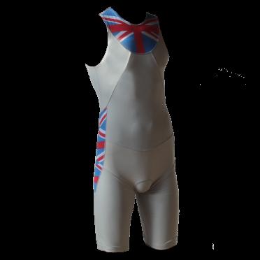 Ironman trisuit back zip mouwloos Aero wit/ENG heren