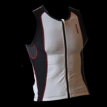 Ironman tri top front zip mouwloos 2P wit/zwart heren