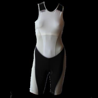 Ironman trisuit back zip mouwloos extreme suit wit/grijs dames