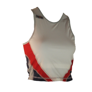 Ironman tri top mouwloos extreme wit/rood/blauw dames