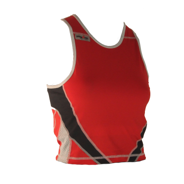 Ironman tri top mouwloos extreme rood/zwart dames