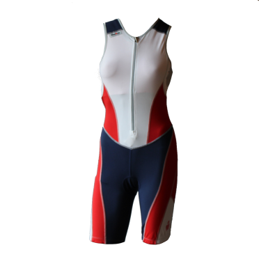 Ironman trisuit front zip mouwloos bodysuit wit/blauw/rood dames