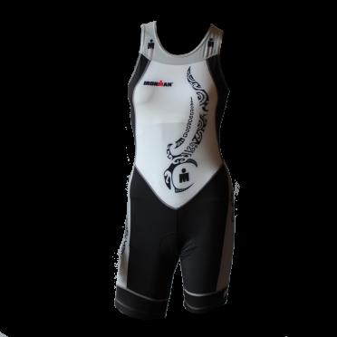 Ironman trisuit back zip mouwloos multisport tattoo wit/zwart/zilver dames