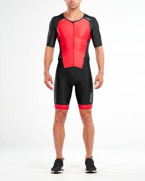 2XU Perform korte mouw trisuit zwart/rood heren