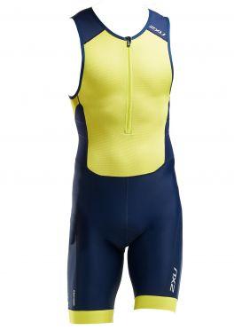 2XU Perform mouwloos trisuit blauw/geel heren