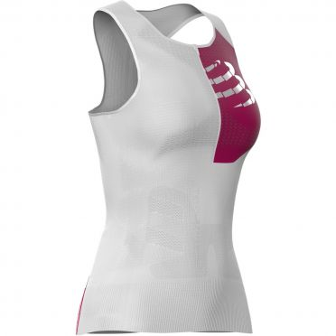 Compressport Postural mouwloos compressie tri top wit dames