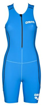 Arena ST front zip mouwloos trisuit blauw dames