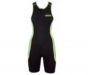 Arena ST front zip mouwloos trisuit zwart zwart/groen dames