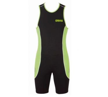 Arena ST rear zip mouwloos trisuit zwart/groen heren