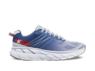 Hoka One One Clifton 6 wide hardloopschoenen blauw/wit dames