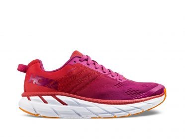 Hoka One One Clifton 6 wide hardloopschoenen rood/wit dames
