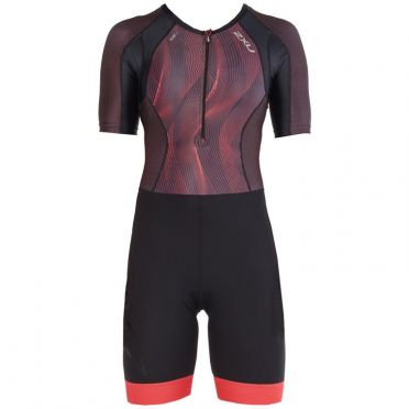 2XU Compression korte mouw trisuit zwart/paars
