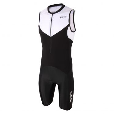 Zone3 Lava long distance mouwloos trisuit zwart/wit heren