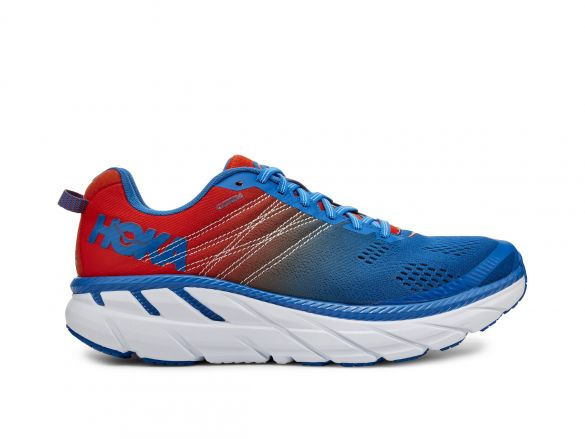 Hoka One One Clifton 6 hardloopschoenen rood/blauw heren  1102872-MRIB