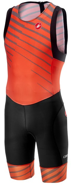 Castelli Short distance race trisuit rits achterzijde mouwloos oranje heren  18111-034
