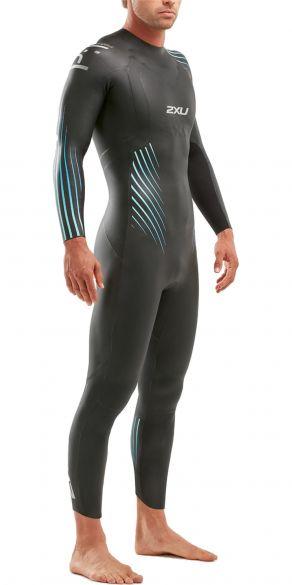 2XU P:1 Propel lange mouw wetsuit zwart/blauw heren  MW4991c-BLK/BRE
