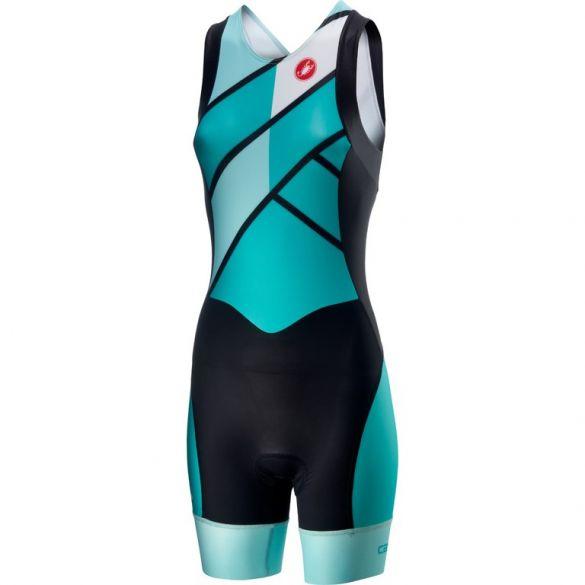 Castelli Short distance W race trisuit rits achterzijde mouwloos groen/blauw dames  18120-044