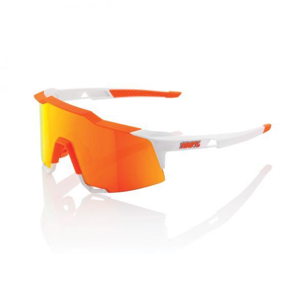 100% Speedcraft fietsbril wit met hiper lens soft oranje  18/61001H-254-43