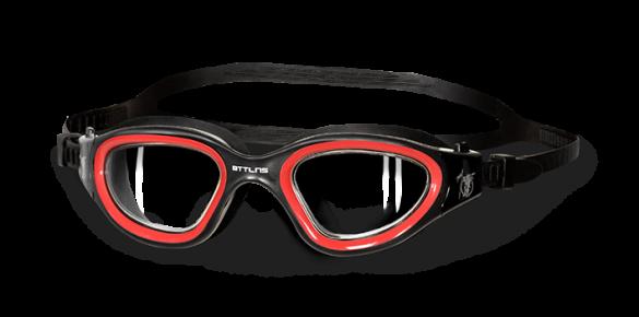 BTTLNS Ghiskar transparante lens zwembril zwart/rood  0119001-003