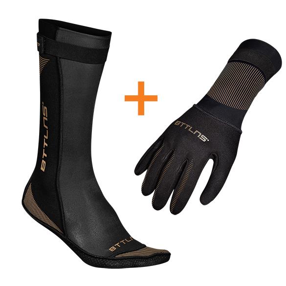 BTTLNS Neopreen zwemsokken en zwemhandschoenen voordeelset zwart/goud  0121009+0121010-087